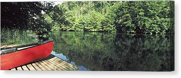 Canoe On A Boardwalk In A River, Neckar Canvas Print by Panoramic Images