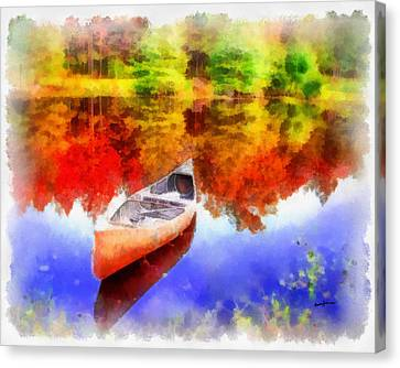 Canoe On Autumn Pond Canvas Print by Anthony Caruso