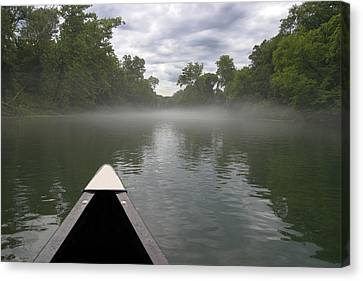 Canoeing The Ozarks Canvas Print by Adam Romanowicz