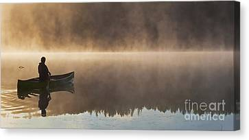 Canoeist On A Golden Misty Morning Canvas Print by Barbara McMahon