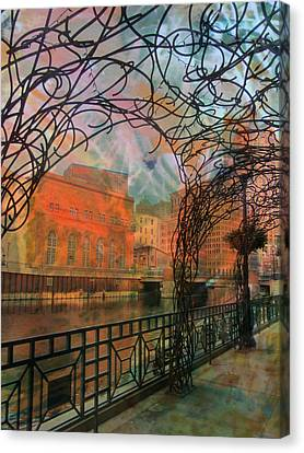 Canopy Riverwalk And Abstract Painting Canvas Print by Anita Burgermeister