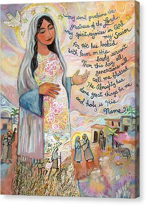 Canticle Of Mary Canvas Print by Jen Norton