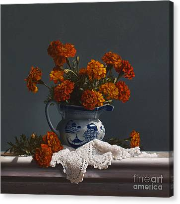 Canton Pitcher With Marigolds Canvas Print by Larry Preston