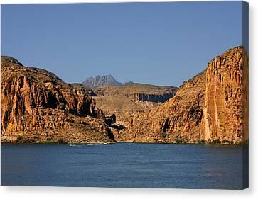 Canyon Lake Of Arizona - Land Big Fish Canvas Print by Christine Till