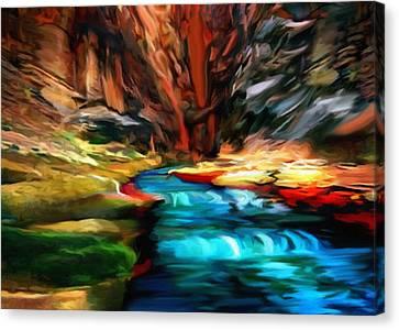 Canyon Waterfall Impressions Canvas Print by Bob and Nadine Johnston