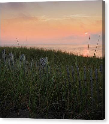 Cape Cod Bay Sunset Square Canvas Print by Bill Wakeley