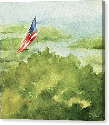 Cape Cod Beach With American Flag Painting Canvas Print by Beverly Brown Prints