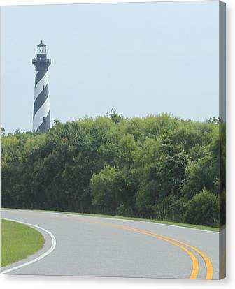 Cape Hatteras Light Roadside View Canvas Print by Cathy Lindsey