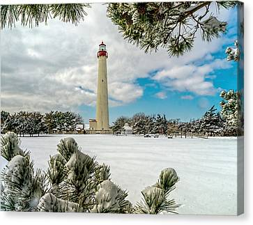 Cape May Light Thru Snowy Trees Canvas Print by Nick Zelinsky