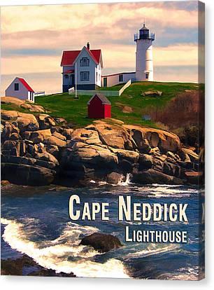 Cape Neddick Lighthouse  At Sunset  Canvas Print by Elaine Plesser