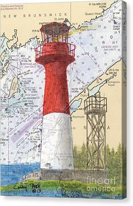 Cape Spencer Lighthouse Nb Canada Nautical Chart Map Art Canvas Print by Cathy Peek