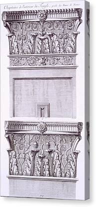 Capitals From The Temple Near The Roman Baths Canvas Print by French School