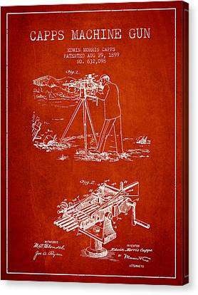 Capps Machine Gun Patent Drawing From 1899 - Red Canvas Print by Aged Pixel