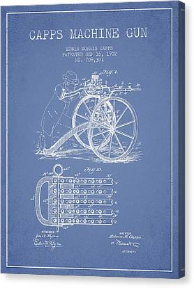 Capps Machine Gun Patent Drawing From 1902 - Light Blue Canvas Print by Aged Pixel
