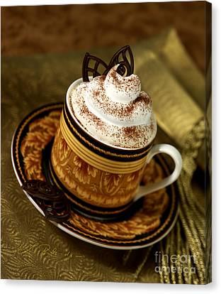 Cappuccino Coffee On Gold Canvas Print by Iris Richardson