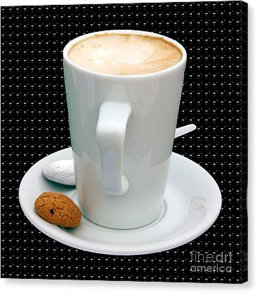 Cappuccino With An Amaretti Biscuit Canvas Print by Terri Waters