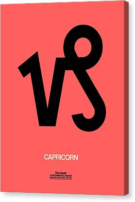 Capricorn Zodiac Sign Black Canvas Print by Naxart Studio