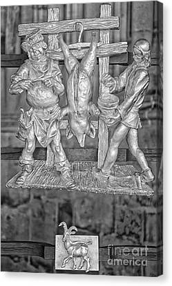 Capricorn Zodiac Sign - St Vitus Cathedral - Prague - Black And White Canvas Print by Ian Monk