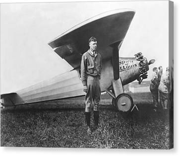 Captain Charles Lindbergh Canvas Print by Underwood Archives