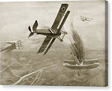 Captain Hawkers Aerial Battle Canvas Print by W. Avis