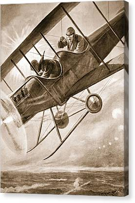 Captain Liddell Piloting His Aeroplane Canvas Print by H. Ripperger