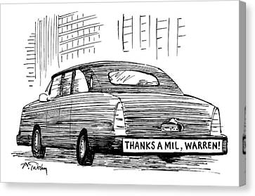 Captionless. Bumper Sticker On Car Reads: Thanks Canvas Print by Mike Twohy