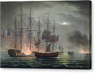 Capture Of La Desiree Canvas Print by Thomas Whitcombe