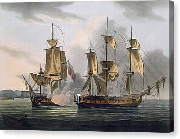 Capture Of La Reunion Canvas Print by Thomas Whitcombe