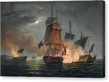 Capture Of The Badere Zaffer Canvas Print by Thomas Whitcombe