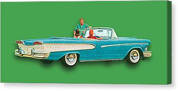 Edsel Car Advertisement Convertible Green Canvas Print by Tony Rubino