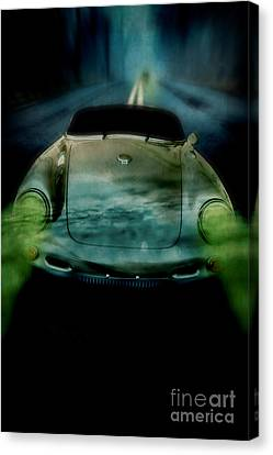 Car Chase At Night Canvas Print by Edward Fielding