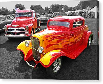 Car Show Fever - 54 Chevy With A 32 Ford Coupe Hot Rod Canvas Print by Gill Billington