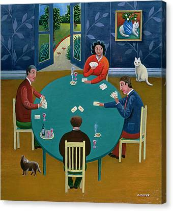Card Game Oil On Board Canvas Print by Jerzy Marek