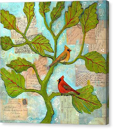 Cardinal Love Notes Canvas Print by Blenda Studio