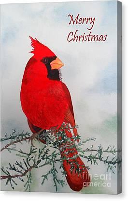 Cardinal Merry Christmas Canvas Print by Laurel Best