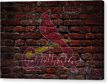 Cardinals Baseball Graffiti On Brick  Canvas Print by Movie Poster Prints