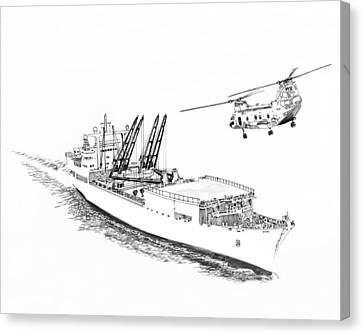 Merchant Marine Cargo Ship At Work Canvas Print by Jack Pumphrey