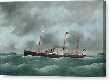 Cargo Steamship Flying The Flag Of The Le Havre Peninsular Company  Canvas Print by French School