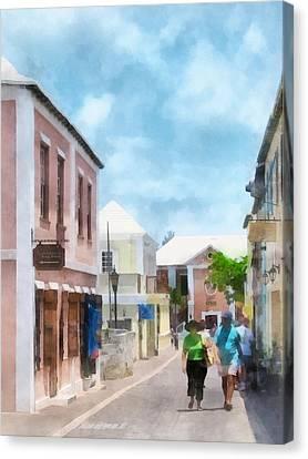 Caribbean - A Street In St. George's Bermuda Canvas Print by Susan Savad