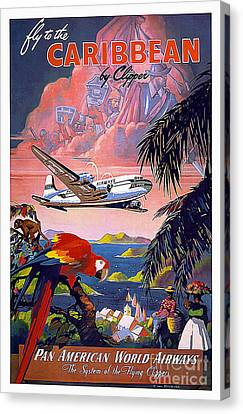 Caribbean Vintage Travel Poster Canvas Print by Jon Neidert