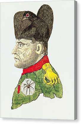 Caricature Of Napoleon Bonaparte Canvas Print by English School