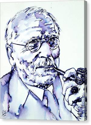 Carl Gustav Jung - Portrait Canvas Print by Fabrizio Cassetta