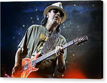 Carlos Santana On Guitar 2 Canvas Print by Jennifer Rondinelli Reilly - Fine Art Photography