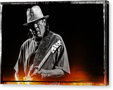 Carlos Santana On Guitar 5 Canvas Print by Jennifer Rondinelli Reilly - Fine Art Photography