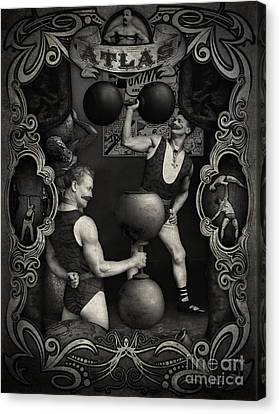 Carnival Banner - Atlas The Strong Man Canvas Print by Gregory Dyer