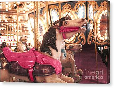 Carnival Carousel Merry Go Round Horses Night Lights - Carousel Horses Hot Pink Carnival Rides Canvas Print by Kathy Fornal