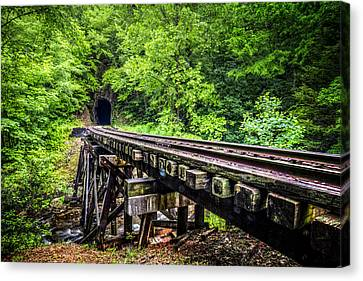 Carolina Railroad Trestle Canvas Print by Debra and Dave Vanderlaan