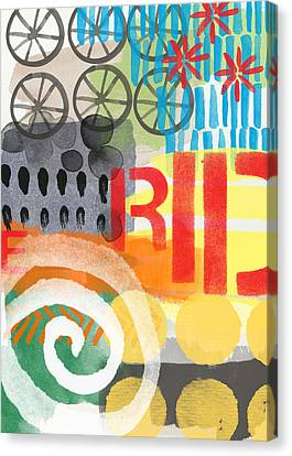 Carousel #6 Ride- Contemporary Abstract Art Canvas Print by Linda Woods