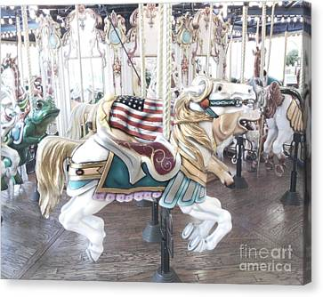 Carousel Merry Go Round Horses - Dreamy Baby Blue Carousel Horses Carnival Ride And American Flag Canvas Print by Kathy Fornal
