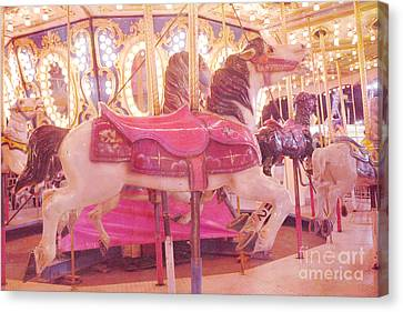 Carousel Merry Go Round Horses - Dreamy Baby Pink Carousel Horses Carnival Rides At Night  Canvas Print by Kathy Fornal